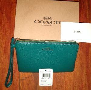 COACH Corner Zip Leather Viridian Wristlet